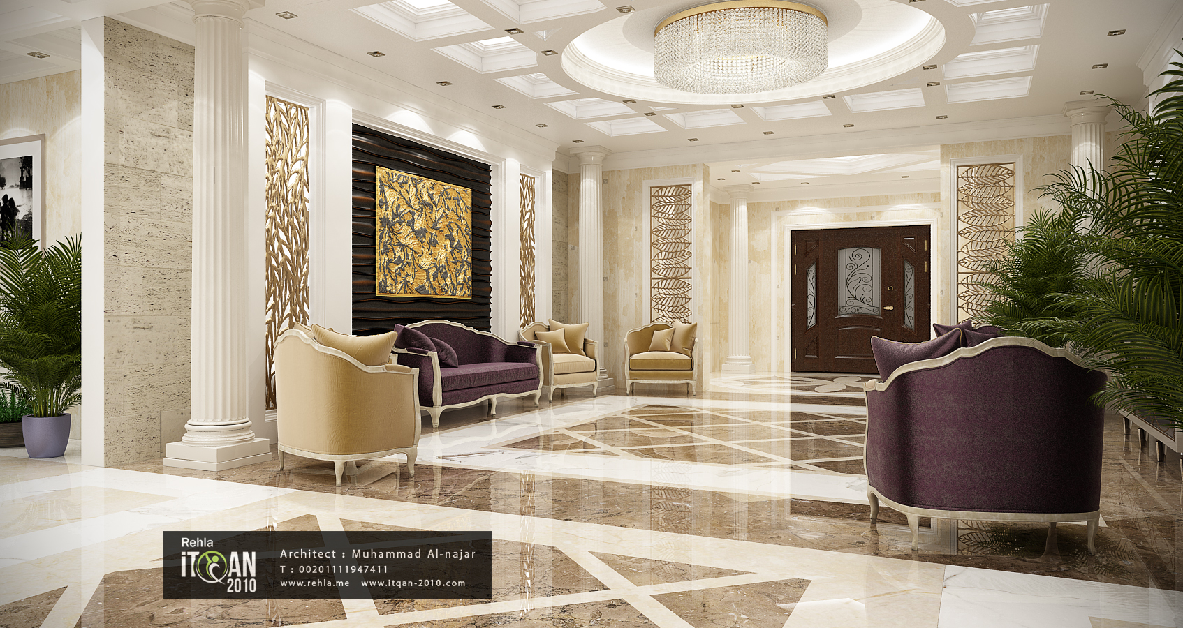 Classic reception marble work-3d wall panels and cnc wood ...