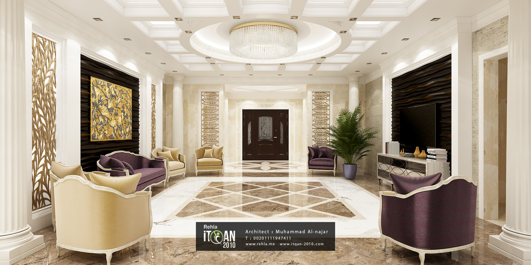 Classic Reception Marble Work 3d Wall Panels And Cnc Wood