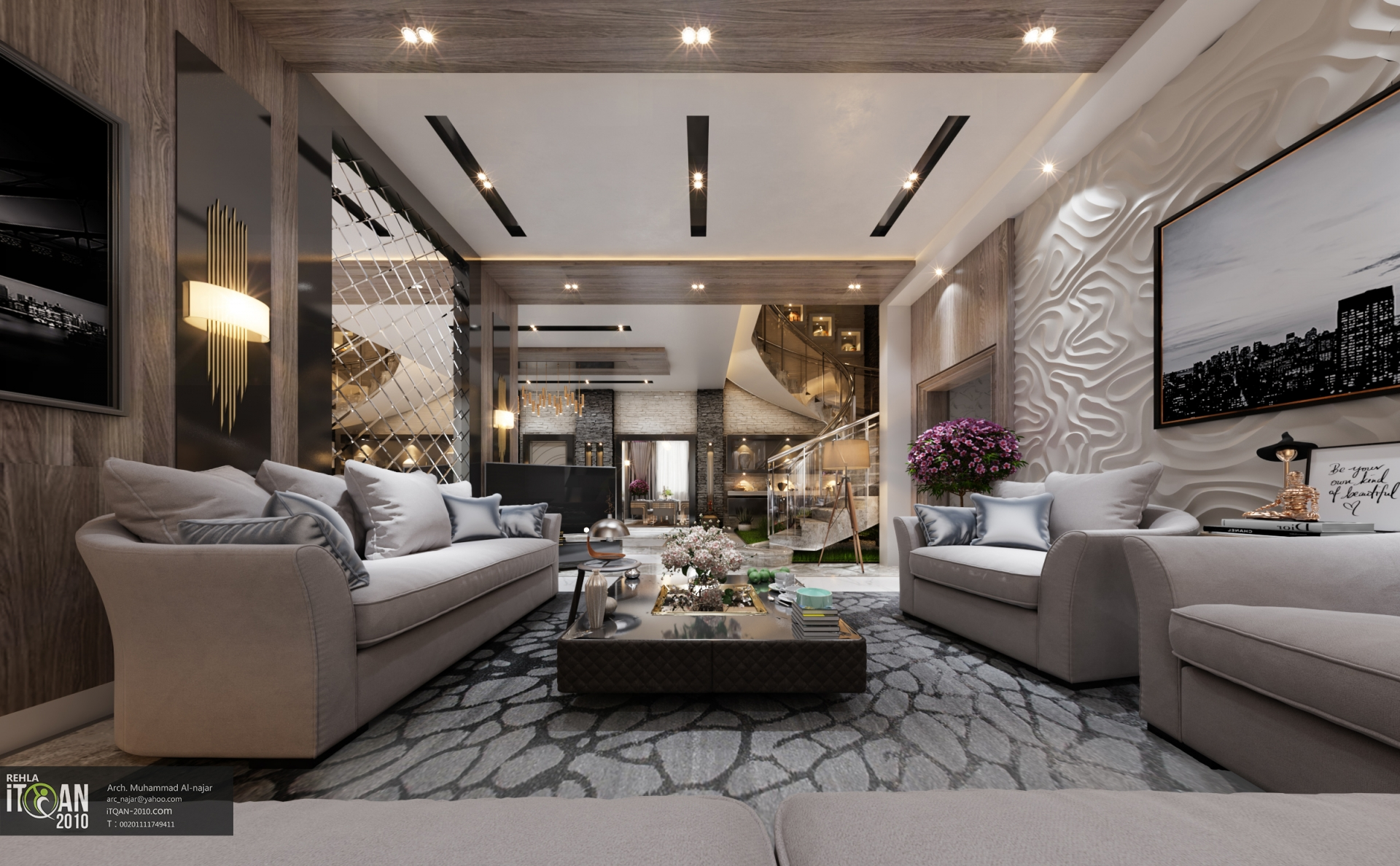 luxury living room + main hall - interior design villa ...